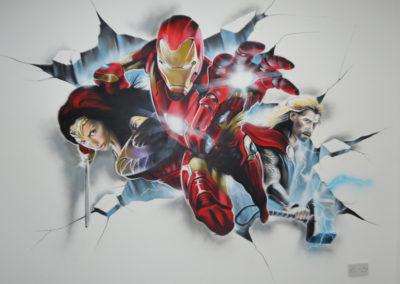 bedroom superheroe graffiti